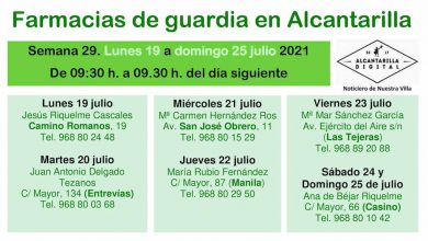 Photo of Farmacias de guardia en Alcantarilla del lunes 19 al domingo 25 de julio