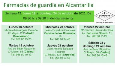Photo of Farmacias de guardia en Alcantarilla del lunes 18 al domingo 24 de octubre